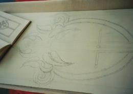 Zeichnung für Glastür