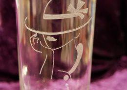 Glas mit Motiv Frau & Hut